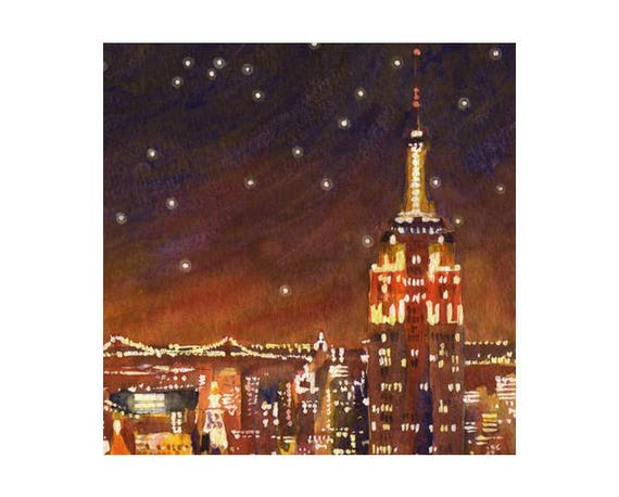 New york painting new york manhattan lights original new york painting new york manhattan lights original watercolor watercolour empire state new york print valentine gift easter gifts negle Gallery