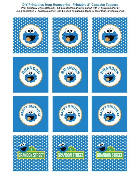 Cookie Monster Birthday Party Printables Printable Cookie Monster Decorations Blue Polka Dots Invitation Included Printable PDFs  sc 1 st  Etsy : cookie monster paper plates - pezcame.com