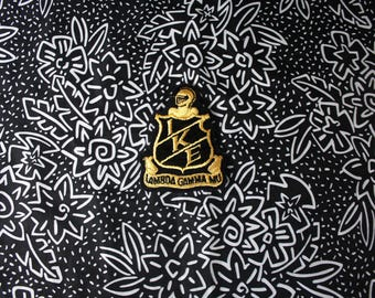 Vintage Lambda Gamma Mu Embroidered Patch. Alpha Phi Alpha Fraternity Retro Black Gold College Frat Crest Patch. Rare College Collectible
