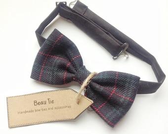 mens bow tie tartan print, tartan bow tie, plaid bow tie, wool bow tie