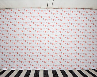 Flamingo Fitted Crib Sheet. Baby Bedding. Crib Bedding. Coral Crib Sheet