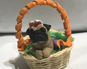 Easter Tan Pug with colorful Egg Basket, Polymer Clay Sculpture