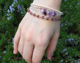 Purple Glass Bead, Amethyst, & Silver Multi-Chain Bracelet