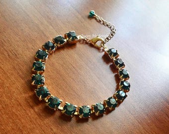 Gold and emerald crystal tennis bracelet May Birthstone Irish Bridal jewelry Emerald green crystals Brides Bridesmaids wedding Jewelry Gift