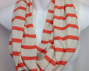 Clearance Oatmeal cream and orange striped infinity scarf