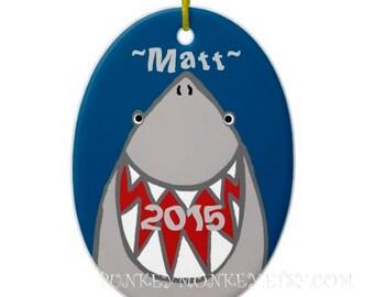 Shark ornament ceramic round personalized ornament sharks teen men boys girls custom shark ornament ocean sea jaws beach ornament holiday