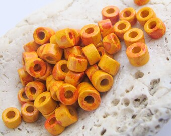 25%OFF 30 Mykonos Greek Ceramic Mini Tube Beads speckled orange yellow 6X4mm Mykonos Beads Spring Sewing scrapbooking supplies Diy