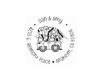 Custom VW volkswagen bus with Christmas tree on top return address rubber stamp