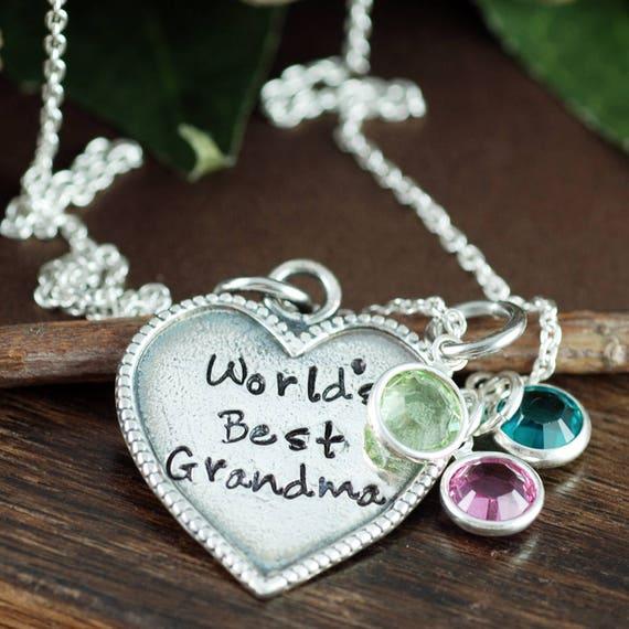 Grandma Jewelry, Grandma Birthstone Necklace, Gift for Grandma, Nana Necklace, Personalized Jewelry, World's Best Grandma, Gift for Nana