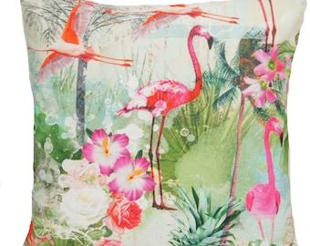 Flamingo Birds Cushion Cover Pink And Cream Throw Pillow Case Designer Printed Bird Cotton Fabric White Green Blue