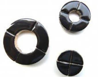 Black Curved Glazed Ceramic BULLSEYE Mosaic Pieces (3 sizes in mix)Mosaic Tiles//Mosaic Supplies//Craft Supplies
