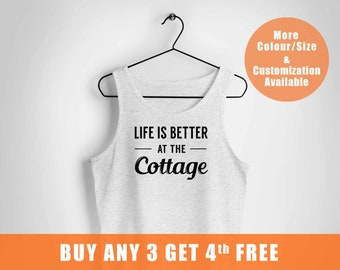 Life is better at the cottage vest ,Cottage Chic vest,camping cottage vest for him,Life is Better at the Cottage,Ship to UK CANADA and mo,,