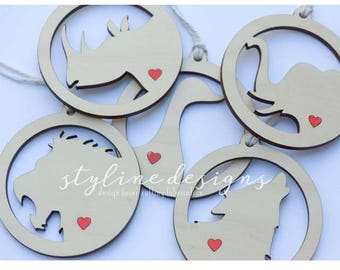 Animal Gift Tag or Ornament - Laser cut and Etched on Wood