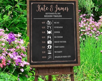 Printable Wedding timeline, Chalkboard Wedding sign, Downloadable prints, Personalized wedding, Wedding itinerary, order of events,