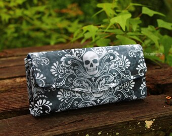 Damask Skull Notes Necessary Clutch Wallet (NCW) with multiple interior pocket and card slots