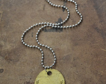 Authentic Vintage Detroit Tag Metal Necklace - Detroit Jewelry - Mens Necklace - 20% Of Sales Donated to Animal Rescue Groups