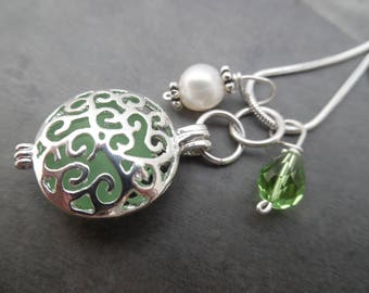 Green Sea Glass Necklace Locket  Beach Seaglass Filigree Charm Pendant