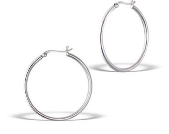 40x40 Sterling Silver Plain Hoops