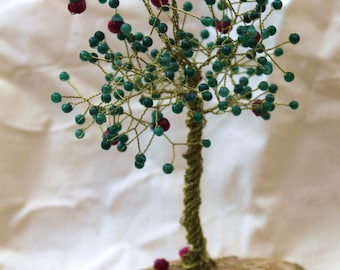 Emerald and Ruby Apple Wire Tree Sculpture