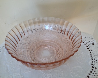 "Vintage  Pink Glass Bowl- Scroll Wheat Diamond Pattern 6 3/4"" X 3"""