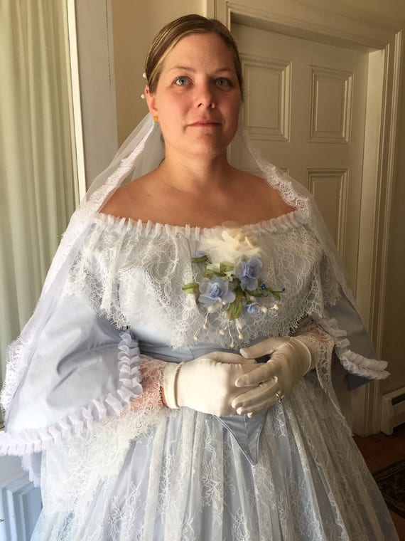 1860er Jahren Bürgerkrieg Ära Brautkleid Mitte 19.