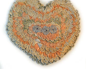40s Heart Pillow Ribbon Pillow As Is