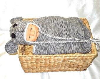 Crochet Baby Cocoon, Hat Set, Newborn, Elephant, Gray, White, Earflap Hat, Baby Shower,