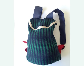 Fabric and leather Backpack with Zip. Fully handmade