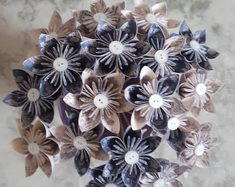 Individual origami navy blue and cream patterned flowers wedding favours home accessories decoration