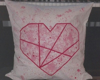 Cushion cover 50 x 50 cm origami heart, hand painted