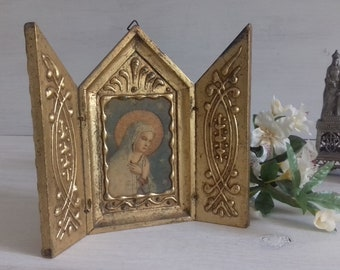 Antique triptych travel Florentine gilded representing the Virgin Mary