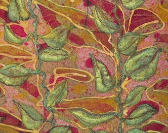 Art Quilt - Wall Art - Leaves - Vines - Hand Painted - One of a Kind - Fiber - True Red - Green - Batik - Thread Sketching - Wall Hanging
