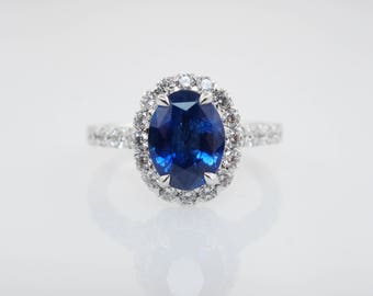 3.23CTW Natural Sapphire Oval Cut Diamond Halo Engagement Ring Sapphire Ring Blue Sapphire Wedding Ring 18k White Gold