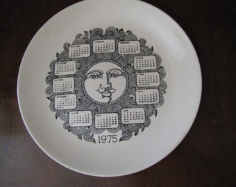 Remember 1975 with commemorative plate. Many important events to share. unusual decoration.