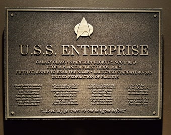 Star Trek USS Enterprise D Dedication plaque replica