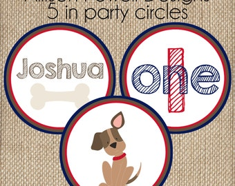 Puppy-Dog-Puppy Dog Birthday Party 5 inch Decorative Party Circles - 3 Designs