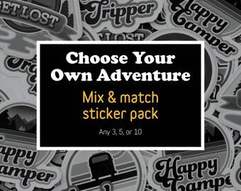 Adventure Sticker Pack, Mix & Match Stickers, Vinyl Stickers, Adventurer Gift, Sticker Lover, Hydro Flask Sticker, Wilderness Stickers