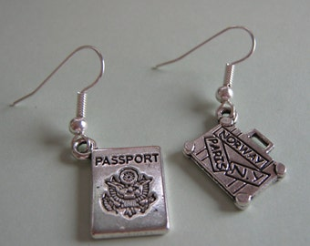 Passport And Suitcase Assymetrical  Earrings