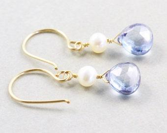 Blue Quartz Dangle Earrings, Pearl Earrings, Blue Drop Earrings, Bridesmaids Gift