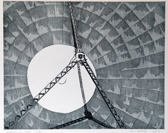 Etching Print - Industrial Etching - Satellite Dish Etching - 'Goonhilly One' by William White - FREE SHIPPING