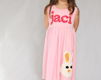 Toddler Easter Dress - Personalized Dress with Bunny Applique- You Choose Dress Color and Sleeve Length