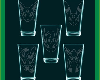 Set of ALL 9 Eeveelutions! NINE drinking glasses, save on shipping!