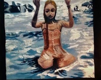 Ocean Tidal Portrait Of Elle, 16 1/4 in.X14 1/4in. ACRYLIC Painting on Canvas (mounted on slate board)