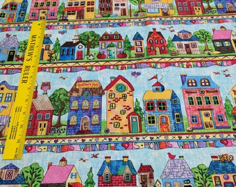 Colored Quilt Stores and Houses Cotton Fabric from Timeless Treasures