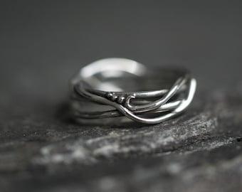 Lovely Elvin Organic Flow band Engagement ring Wedding band, goddess ring, earth jewelry, boho ring, organic jewelry