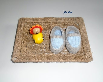 Hand Knitted Baby Boy Cotton Espadrilles - Ready to Ship! SALE