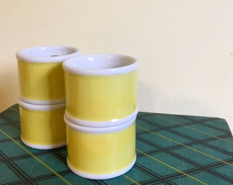 Yellow and White Ceramic Napkin Rings/ Holders in Box, Fitz & Floyd, Set of 4, Reduced Price