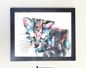 Ocelot / Margay Art Print, Galaxy Totem Spirit Animal Watercolor 8x10
