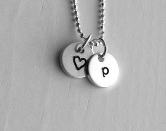 Initial Necklace, Letter p Necklace, Tiny Heart Necklace, Personalized Jewelry, Sterling Silver Jewelry, Charm Necklace, All Letters Avail