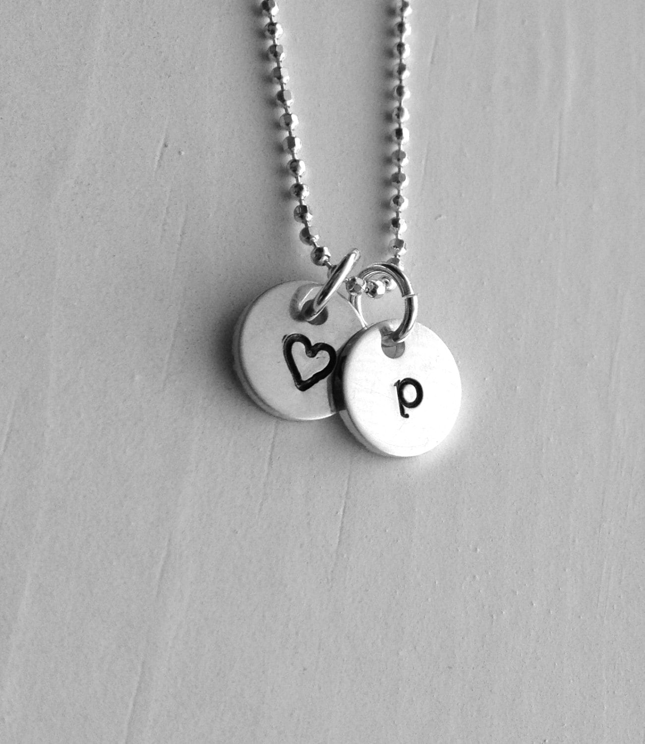 Initial Necklace Letter P Necklace Tiny Heart Necklace